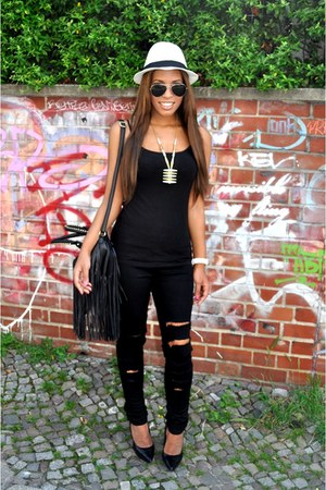 black J Brand jeans - white Michael Stars hat - black H&M bag - black H&M top -
