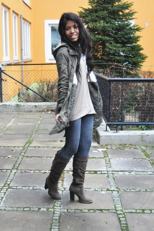 brown Graceland boots - charcoal gray jegging H&M jeans - olive green military H