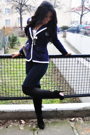 black overknee makemechic boots - blue House of Fraser jeans - navy preppy Prima