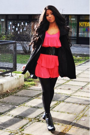 black leather velour Primark boots - hot pink ruffled H&M dress - black Vero Mod