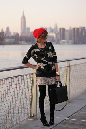 Sheinside sweater - Zara boots - Forever 21 skirt
