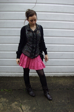 black cardigan - black blouse - pink skirt - black Peacocks tights - brown boots