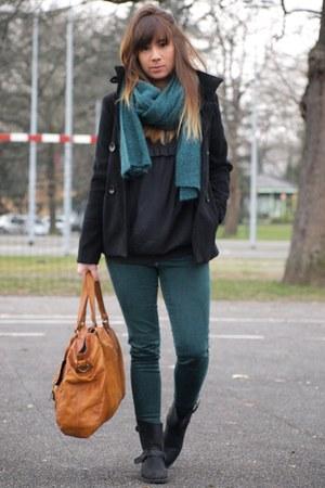 teal Zara scarf - black Mango boots - burnt orange pieces bag - teal Zara pants