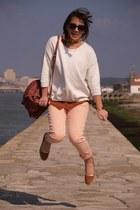 peach pants - maroon bag - burnt orange flats - white sweatshirt