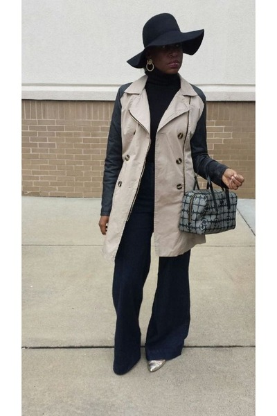 tan Charlotte Russe coat - mustard Zara shoes - navy Urban Outfitters jeans