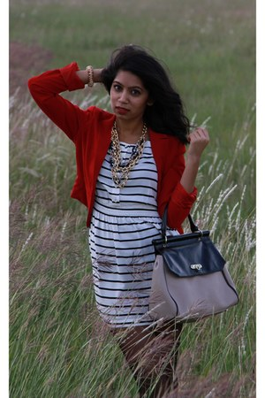 red blazer - heather gray boots - black dress - gold chain-link necklace