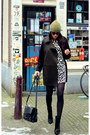 Dalmatian-print-h-m-dress-black-wedge-zara-boots-oversized-mango-coat