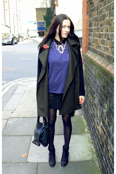 blue Zara top - black ankle boots Topshop boots - Mango coat