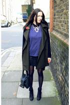 blue Zara top - black ankle boots Topshop boots - Mango coat