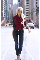 ruby red abercrombie and fitch shirt - navy skinny jeans Henry & Belle jeans