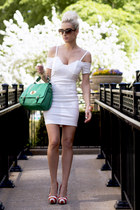 white Lulus dress - green Lulus bag - carrot orange striped Lulus pumps