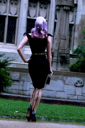 black pencil Wheels and Dollbaby dress - black leopard print 9th & Elm bag
