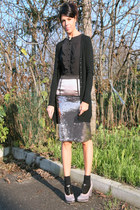 black ChiccaStyle cardigan - black VDP dress - gray caf noir shoes