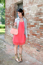 gray vintage jacket - tan Janet&Janet boots - red ChiccaStyle dress
