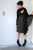 black ChiccaStyle scarf - dark gray Twin Set dress - black no name belt - black