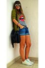 Bata-bag-zara-cardigan-ray-ban-sunglasses-h-m-shorts-new-yorker-t-shirt-
