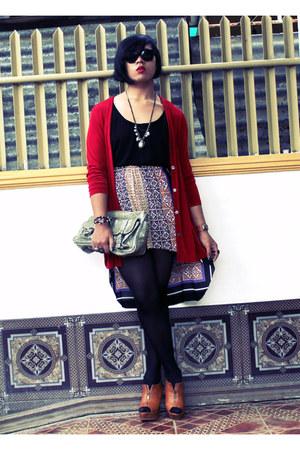 vintage skirt - Secosana bag - vintage cardigan - prp heels