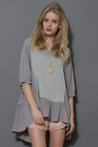 Cozy My Fav Grey Dolly Hi-Lo Top
