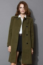 Minimal Elegance Wool-blend Coat in Military Green