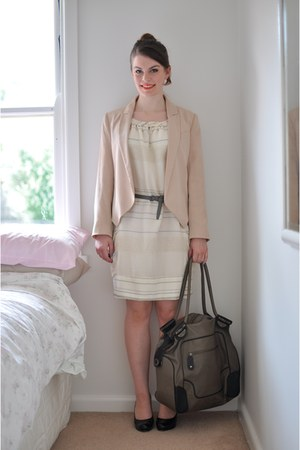 eggshell slouchy Lover dress - light pink tuxedo Witchery blazer - charcoal gray