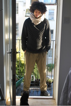 beige Cocowai scarf - black H&M sweater - brown Gucci pants - black Converse sho
