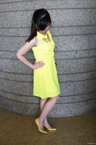 brown watch - yellow Charlotte Russe dress - bubble gum necklace