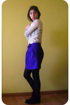 black Esprit boots - black Caffarena tights - blue Topshop skirt - white Topshop