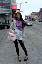 coach scarf - gray tse cardigan - white Old Navy top - black miley and max leggi