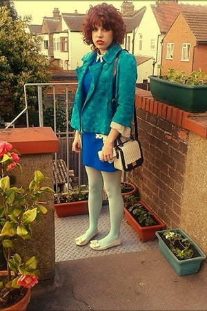 blue Primark dress - neutral Urban Outfitters shoes - blue H&amp;M jacket