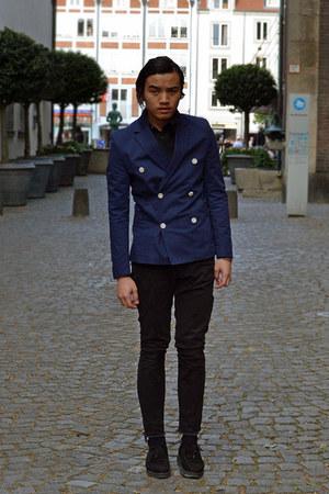 black leather Underground shoes - navy cotton H&M blazer