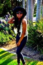 Target hat - American Apparel pants - Forever 21 earrings - Forever 21 top