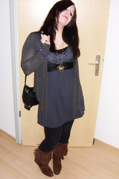 blue H&amp;M dress - black Hot Topic belt - black zoo york pants - brown vintage sho