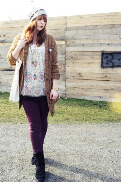 eggshell yumi top - purple H&M jeans - beige Accessorize hat