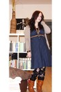 Black-mango-leggings-blue-h-m-dress-beige-mango-cardigan-accessorize-acces