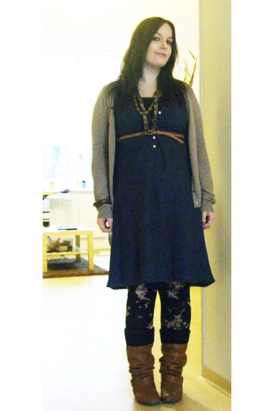 black Mango leggings - blue H&M dress - beige Mango cardigan - Accessorize acces