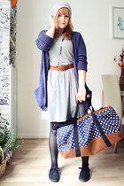 blue Mi-Pac bag - gray H&M dress - blue GINA TRICOT cardigan