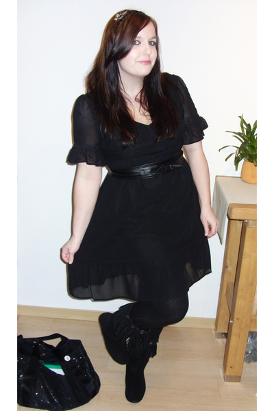 black H&M dress - black asos boots - black bow Hot Topic belt