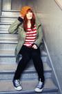 Navy-converse-shoes-mustard-zara-hat-army-green-new-yorker-jacket