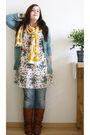 Yellow-ebay-scarf-white-h-m-dress-beige-roxy-purse