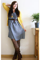 blue H&M dress - brown vintage from Ebay boots