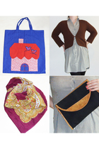 blue TheLittleOwlVintage purse - brown TheLittleOwlVintage cardigan - red TheLit