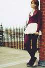 Cream-oasap-skirt-brick-red-thrifted-sweater-brick-red-gift-tights