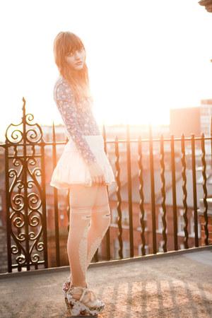 light orange asos socks - off white OASAP wedges - cream OASAP skirt