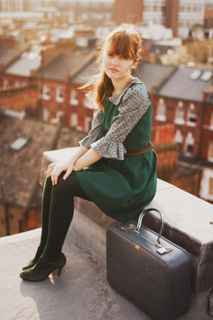green thrifted pull and bear dress - dark green Urban Outfitters coat