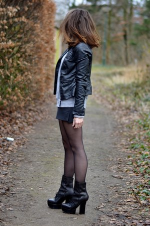 black pixel acne boots - black leather Vero Moda jacket