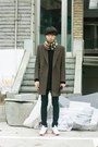 Brown-vandalist-coat-beige-burberry-scarf-white-nike-sneakers