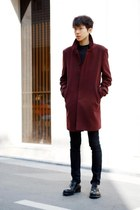 crimson Vandalist coat - black Prada shoes