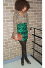 Green-h-m-scarf-h-m-shirt-brown-nine-west-purse-black-nine-west-shoes
