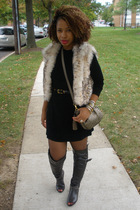 Ebay vest - BCBG dress - vintage purse - gifted boots