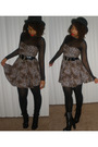 Black-guess-shoes-beige-animal-print-dress-black-necessary-object-top